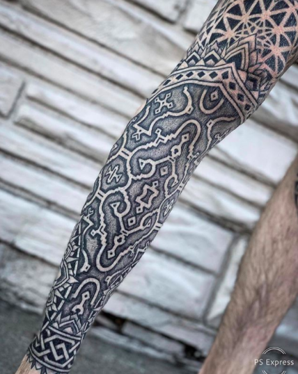 ornamental full sleeve tattoo for men