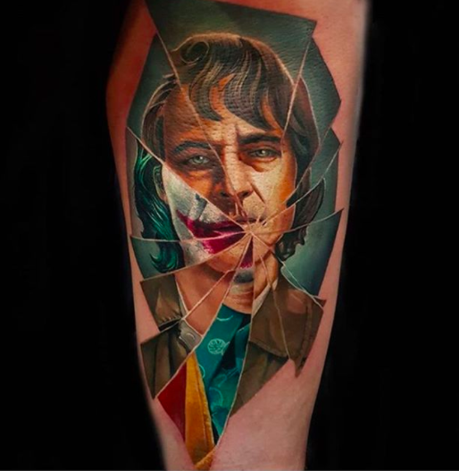 broken mirror joker tattoo
