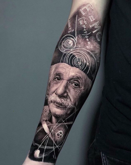einstein half sleeve tattoo design