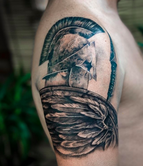 warrior wing shoulder tattoo