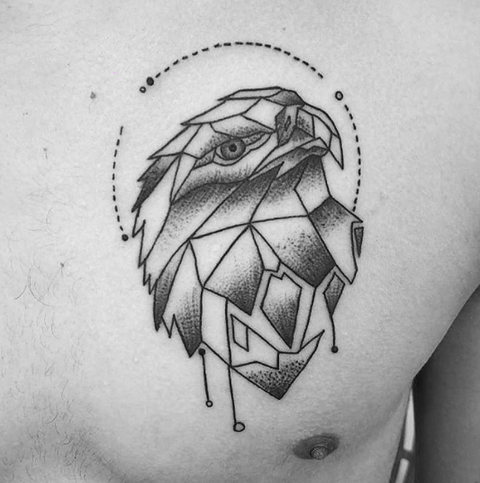 chest geometric eagle tattoo