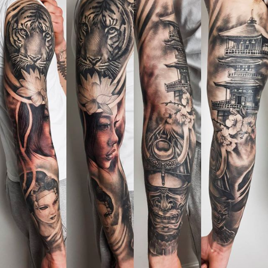 asian full arm sleeve tattoo