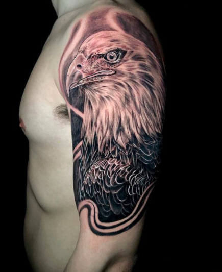 american eagle shoulder tattoo for men