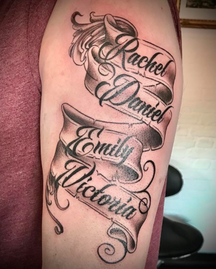 family names tattoos on a band