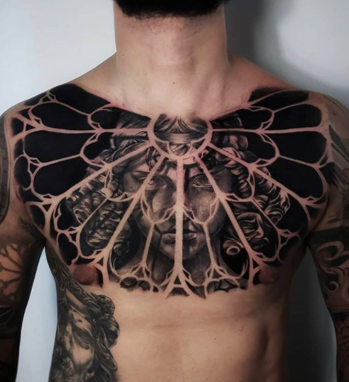 gothic geometric tattoo for chest