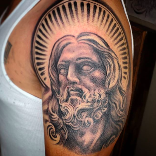 saint tattoo for shoulders