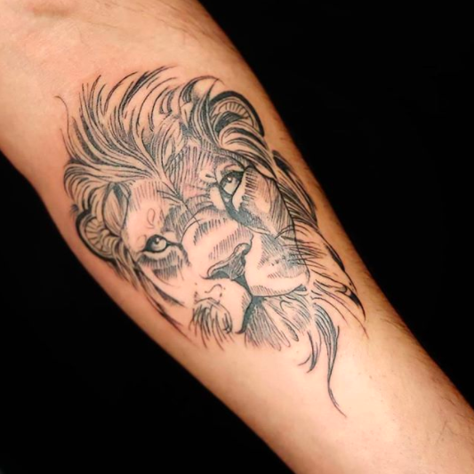 mufasa lion tattoo forearm