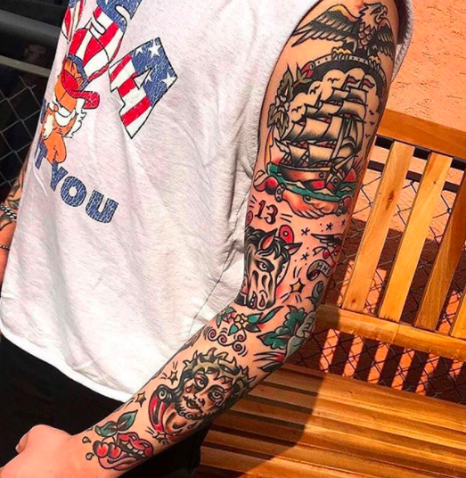 naval traditional mens tattoo sleeve