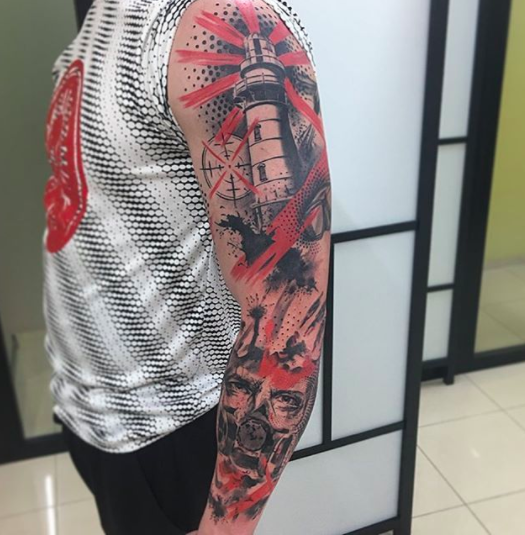 full trashpolka tattoo sleeve