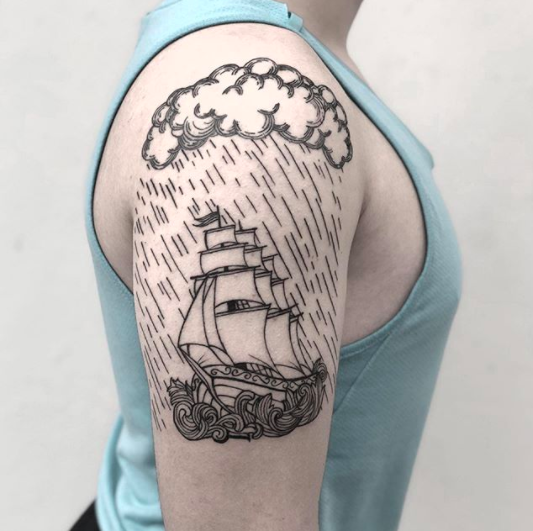 simple ship tattoo for men