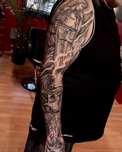 saint george serpent full arm sleeve tattoo