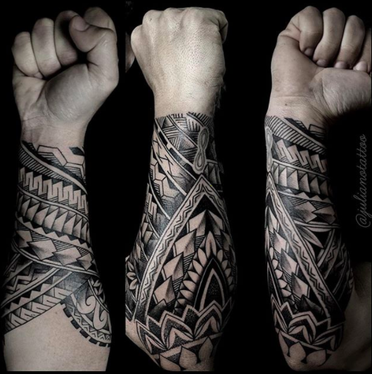 polynesian forearm band tattoo design