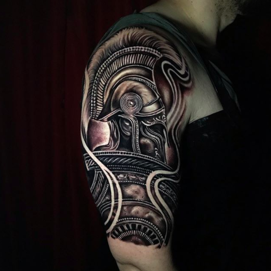 tribal upperarm tattoo