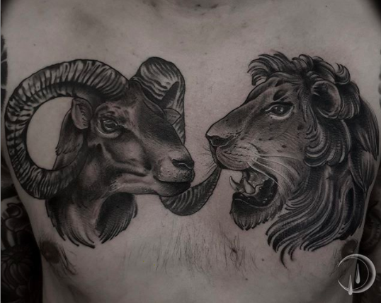 capricorn lion tattoo design