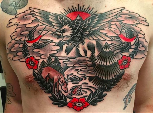 traditional eagle chest mens tattoo