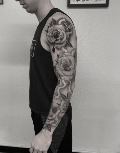 full arm sleeve with roses tattoo