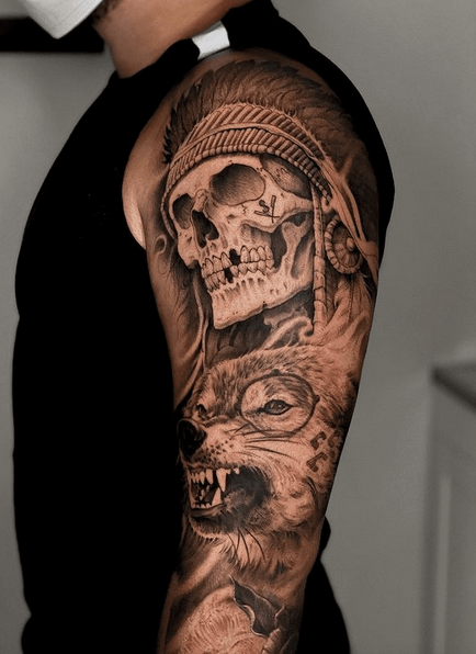 Native American Chief Skull and Wolf tattoo by @valerioart