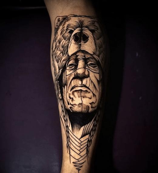 Native American Chief With Bear Headdress tattoo b y @diegotattooartista