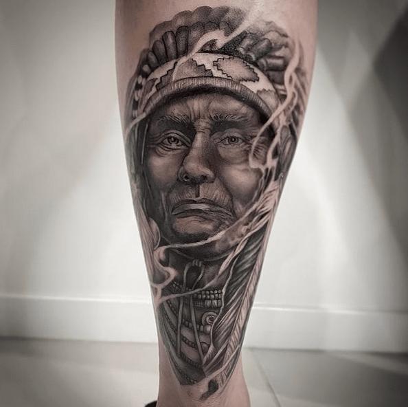 Native American chief tattoo by @_critt3r