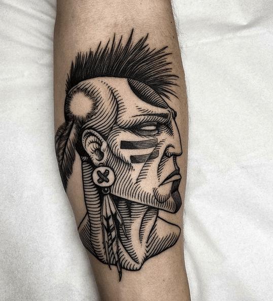 Native American warrior tattoo by @sidetattooing