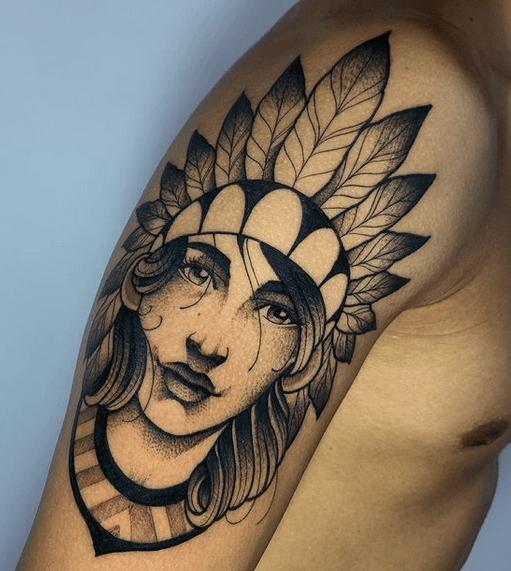Native American woman shoulder tattoo by @elfox_hmt