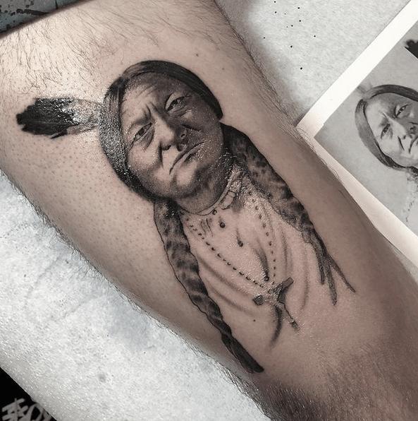 Sitting bull tattoo by @zimmertattoo