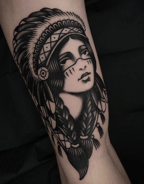 Traditional native american girl tattoo by @anholt.tattoo