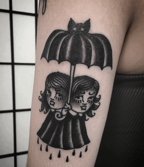 Creepy Girls Tattoo by baby.face.pout