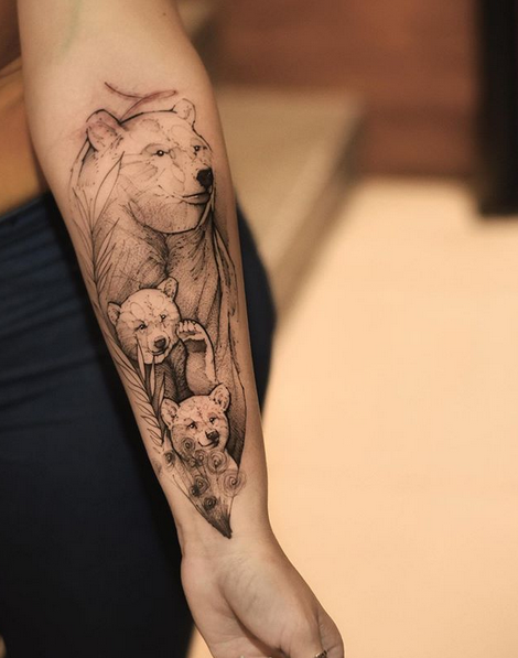 Abstract forearm mama bear tattoo by @robson_fig
