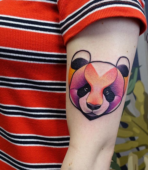 Abstract panda bear tattoo by @_kajaa
