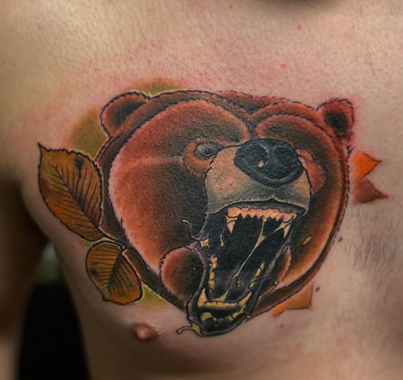 Angry traditional old school grizzly bear tattoo by @mikeyhartattoos