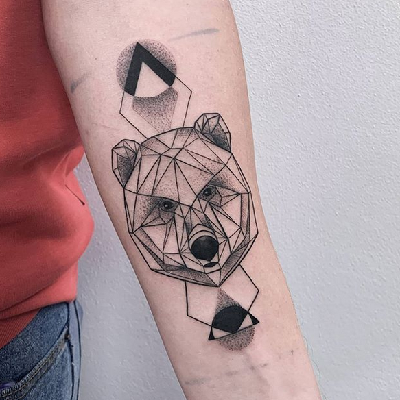 Geometric Bear Tattoo With Shading by @_giuliacovelli_