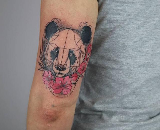 Geometric line panda bear tattoo by @jenny.denk