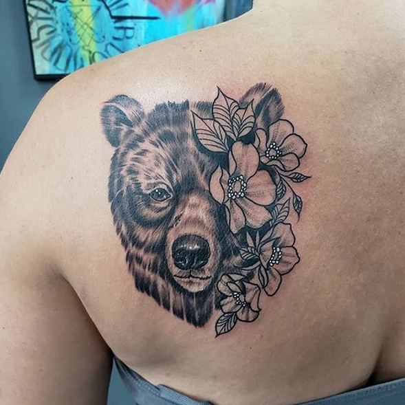 Grizzly bear with flowers tattoo by @9thgategallery