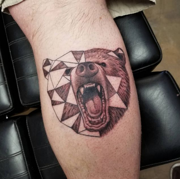 Mix geometry and realism brown bear tattoo by @ripley_tattoo