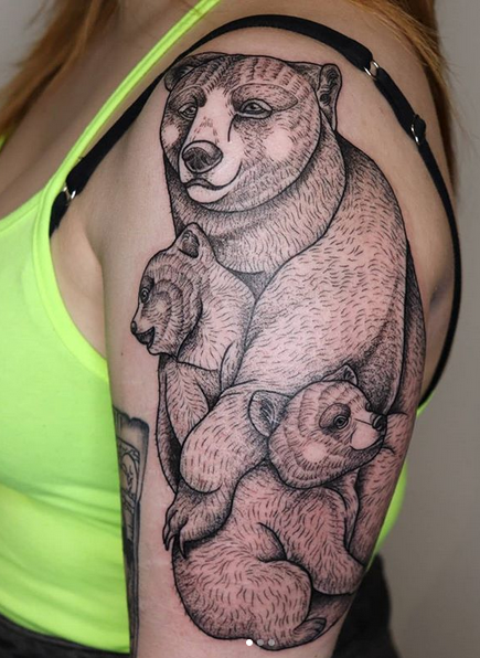 Modern style mother bear tattoo by @whimsical.walnut
