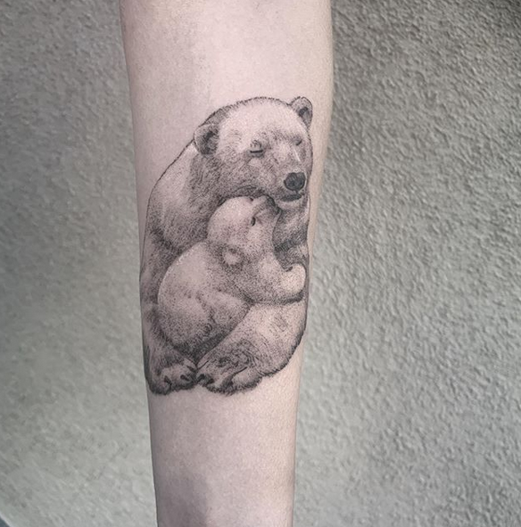 Mother and baby polar bears tattoo by @roberthendricksontattoo