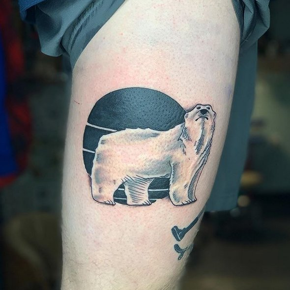 Polar bear moon tattoo by @harper893