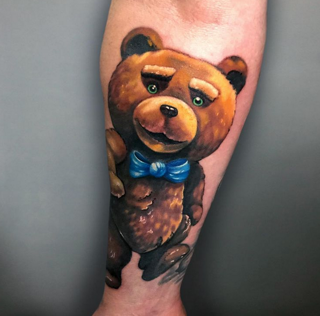 Realistic cartoon teddy bear tattoo by @anna_becse