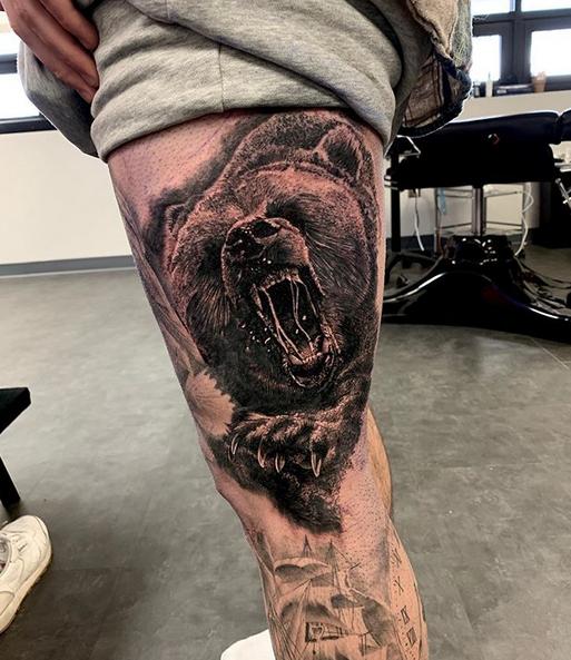 Roaring foaming grizzly bear tattoo by @jimmyinks