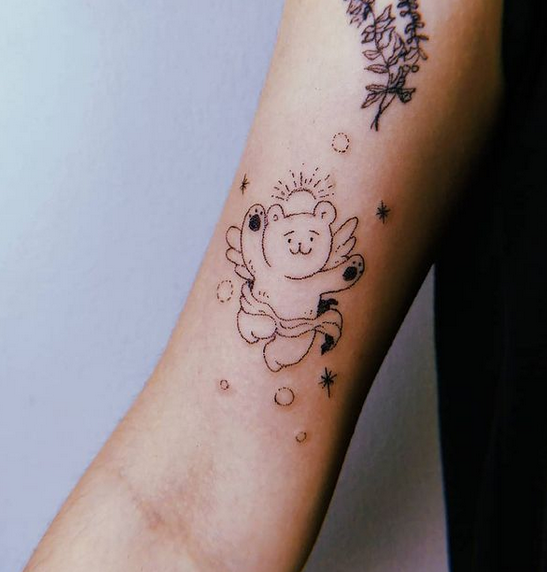 Teddy bear angel tattoo by @misa.handpoke