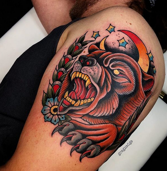 Traditional bear tattoo with a moon and flowers by @gregxedge