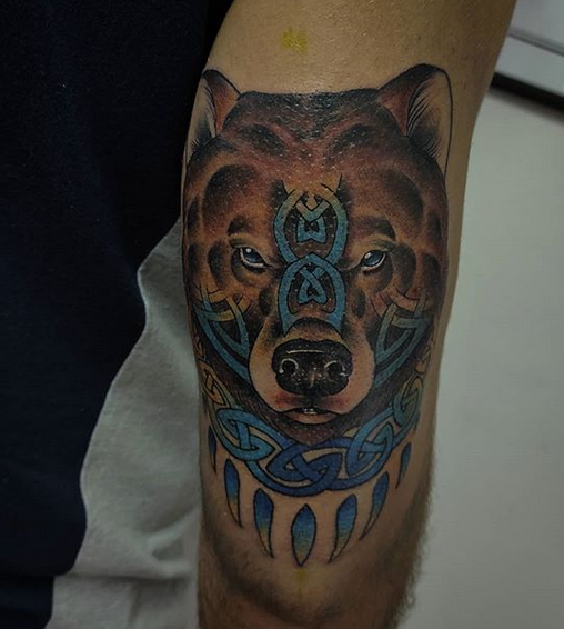 Traditional bear with Celtic elements by @luxs_tattoos