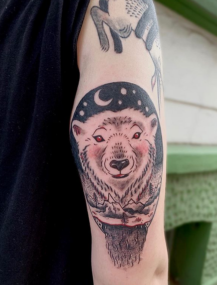 Traditional polar bear tattoo in color by @lizrah_