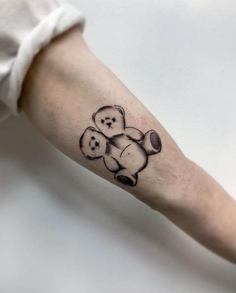 Two headed teddy bear tattoo by @riotgurl22