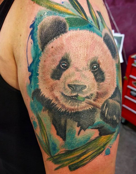 Watercolor panda tattoo by @saskialtattoo