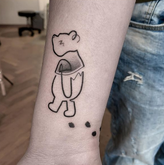 Winnie the pooh linework tattoo by @miyo.tattoo