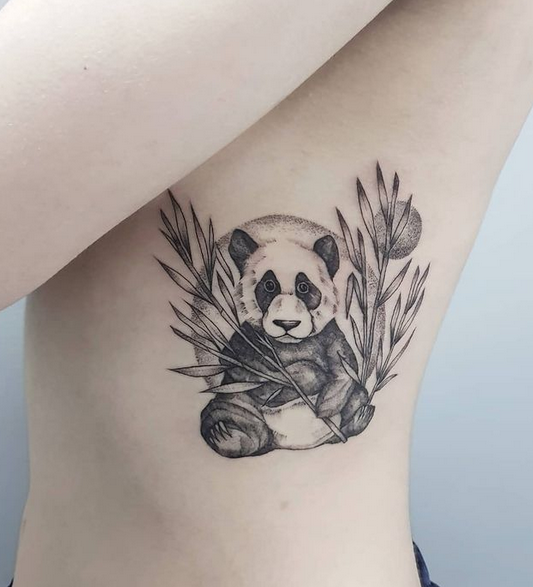 cute panda tattoo with leaves