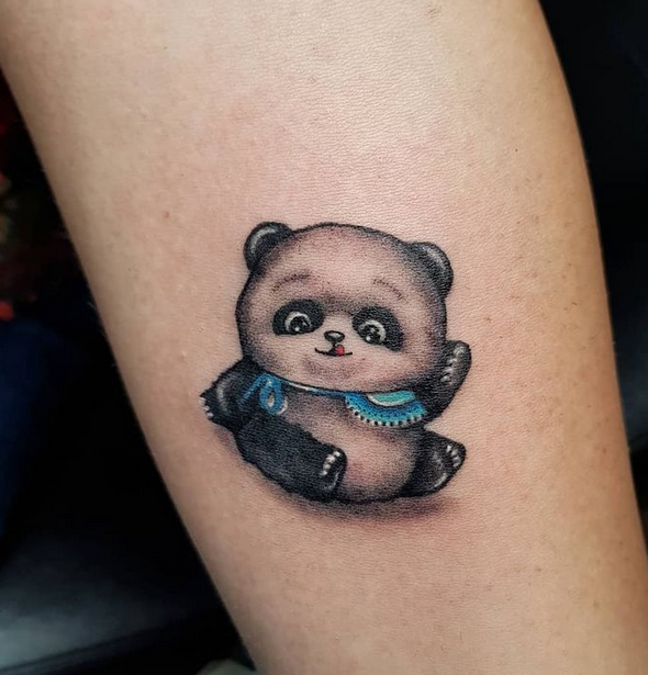 cartoony panda bear tattoo