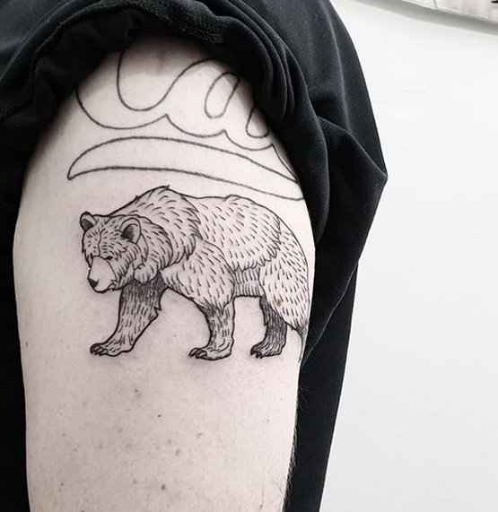 illustrative california bear on four leggs tattoo